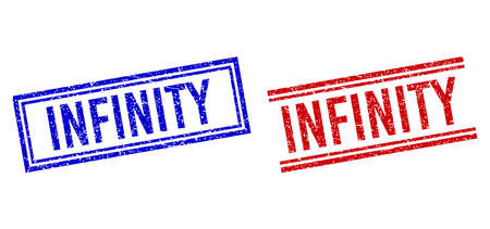 INFINITY rubber watermarks with grunge style. Vectors designed with double lines, in blue and red variants. Word placed inside double rectangle frame and parallel lines. Vecteurs