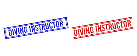 DIVING INSTRUCTOR rubber imitations with grunge texture. Vectors designed with double lines, in blue and red colors. Label placed inside double rectangle frame and parallel lines.
