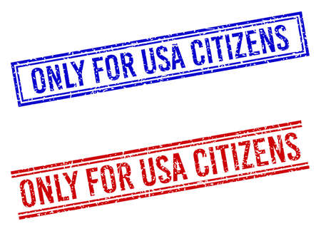 ONLY FOR USA CITIZENS stamp seal watermarks with grunge texture. Vectors designed with double lines, in blue and red colors. Text placed inside double rectangle frame and parallel lines. Vektorové ilustrace