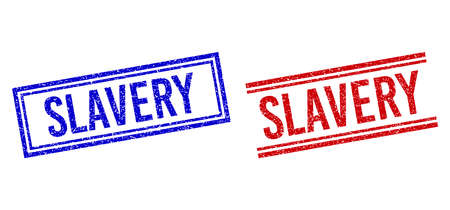 SLAVERY rubber overlays with grunge style. Vectors designed with double lines, in blue and red versions. Caption placed inside double rectangle frame and parallel lines.