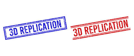 3D REPLICATION stamp watermarks with grunge style. Vectors designed with double lines, in blue and red colors. Word placed inside double rectangle frame and parallel lines.