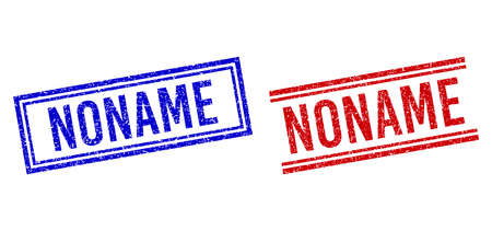 NONAME rubber overlays with distress texture. Vectors designed with double lines, in blue and red variants. Phrase placed inside double rectangle frame and parallel lines.