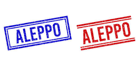 ALEPPO stamp watermarks with grunge texture. Vectors designed with double lines, in blue and red variants. Caption placed inside double rectangle frame and parallel lines.