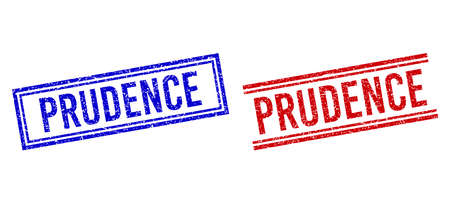 PRUDENCE rubber overlays with distress style. Vectors designed with double lines, in blue and red versions. Caption placed inside double rectangle frame and parallel lines.
