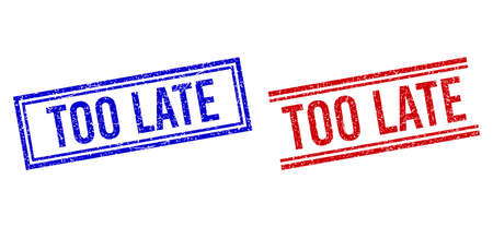 TOO LATE rubber overlays with distress style. designed with double lines, in blue and red versions. Tag placed inside double rectangle frame and parallel lines.