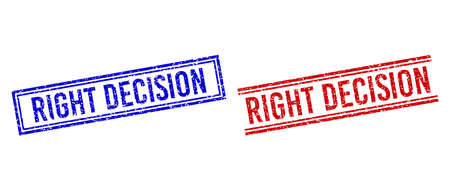 RIGHT DECISION rubber watermarks with grunge style. designed with double lines, in blue and red colors. Label placed inside double rectangle frame and parallel lines. Ilustración de vector