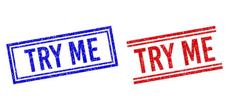 TRY ME rubber imitations with distress texture. designed with double lines, in blue and red versions. Phrase placed inside double rectangle frame and parallel lines.