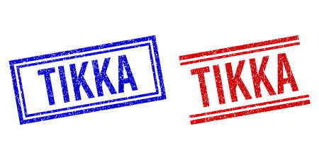 TIKKA rubber imitations with distress texture. Vectors designed with double lines, in blue and red versions. Tag placed inside double rectangle frame and parallel lines.