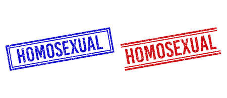 HOMOSEXUAL rubber overlays with grunge effect. Vectors designed with double lines, in blue and red colors. Caption placed inside double rectangle frame and parallel lines.