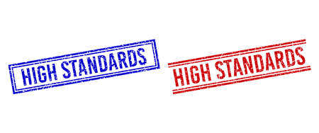 HIGH STANDARDS rubber imitations with distress style. Vectors designed with double lines, in blue and red colors. Caption placed inside double rectangle frame and parallel lines.