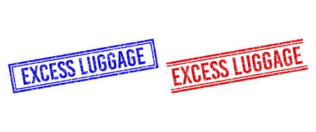 EXCESS LUGGAGE stamp overlays with grunge style. Vectors designed with double lines, in blue and red versions. Text placed inside double rectangle frame and parallel lines.
