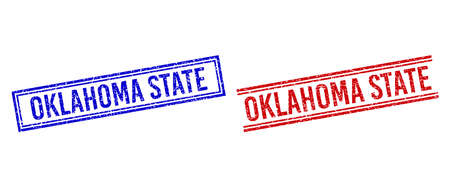 OKLAHOMA STATE seal watermarks with grunge texture. Vectors designed with double lines, in blue and red colors. Caption placed inside double rectangle frame and parallel lines.