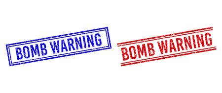 BOMB WARNING rubber overlays with distress texture. Vectors designed with double lines, in blue and red variants. Text placed inside double rectangle frame and parallel lines.