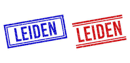 LEIDEN stamp seal imitations with grunge texture. Vectors designed with double lines, in blue and red variants. Tag placed inside double rectangle frame and parallel lines.