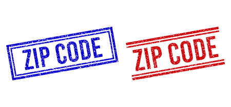 ZIP CODE rubber overlays with grunge style. Vectors designed with double lines, in blue and red versions. Caption placed inside double rectangle frame and parallel lines.