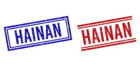 HAINAN stamp watermarks with grunge texture. Vectors designed with double lines, in blue and red versions. Phrase placed inside double rectangle frame and parallel lines. Stock Illustratie