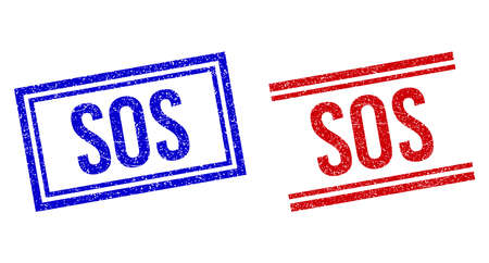 SOS rubber imprints with distress style. Vectors designed with double lines, in blue and red colors. Text placed inside double rectangle frame and parallel lines.