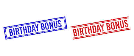 BIRTHDAY BONUS seal imitations with grunge texture. Vectors designed with double lines, in blue and red colors. Text placed inside double rectangle frame and parallel lines. Stock Illustratie