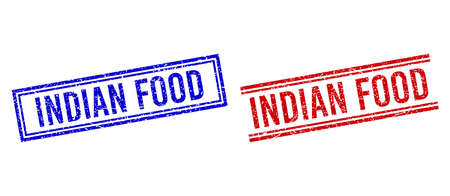 INDIAN FOOD stamp overlays with grunge style. Vectors designed with double lines, in blue and red colors. Text placed inside double rectangle frame and parallel lines. Stock Illustratie