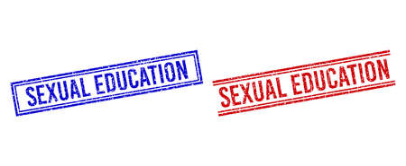 SEXUAL EDUCATION stamp seal imitations with grunge effect. Vectors designed with double lines, in blue and red versions. Text placed inside double rectangle frame and parallel lines.
