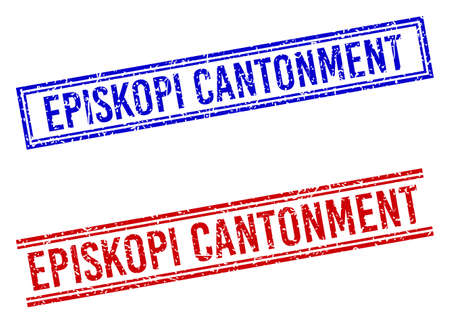 EPISKOPI CANTONMENT stamp watermarks with distress style. Vectors designed with double lines, in blue and red colors. Label placed inside double rectangle frame and parallel lines.