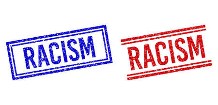 RACISM stamp imprints with distress style. Vectors designed with double lines, in blue and red variants. Word placed inside double rectangle frame and parallel lines.
