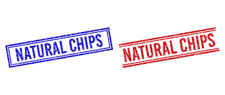 NATURAL CHIPS stamp seal watermarks with grunge style. Vectors designed with double lines, in blue and red colors. Word placed inside double rectangle frame and parallel lines. Stock Illustratie