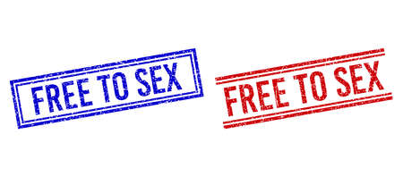 FREE TO SEX rubber imitations with grunge effect. Vectors designed with double lines, in blue and red versions. Phrase placed inside double rectangle frame and parallel lines.