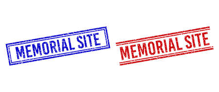 MEMORIAL SITE stamp imprints with grunge style. Vectors designed with double lines, in blue and red colors. Tag placed inside double rectangle frame and parallel lines. Stock Illustratie