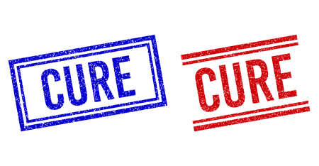 CURE rubber watermarks with grunge effect. Vectors designed with double lines, in blue and red variants. Label placed inside double rectangle frame and parallel lines.