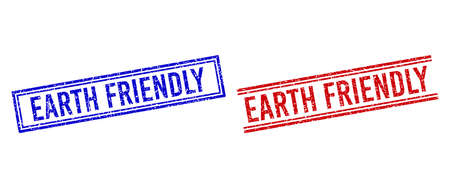 EARTH FRIENDLY stamp watermarks with grunge style. Vectors designed with double lines, in blue and red variants. Word placed inside double rectangle frame and parallel lines. Stock Illustratie
