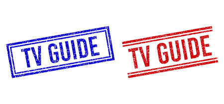 TV GUIDE rubber watermarks with grunge effect. Vectors designed with double lines, in blue and red versions. Text placed inside double rectangle frame and parallel lines.