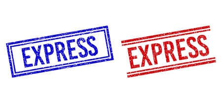 EXPRESS rubber imitations with distress style. Vectors designed with double lines, in blue and red colors. Caption placed inside double rectangle frame and parallel lines.