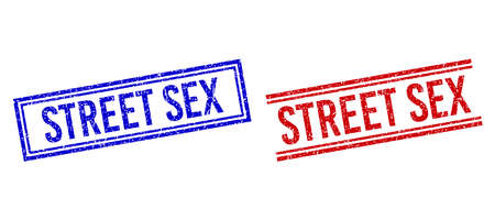 STREET SEX rubber imprints with grunge style. Vectors designed with double lines, in blue and red versions. Tag placed inside double rectangle frame and parallel lines.