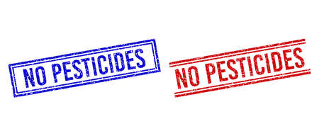 NO PESTICIDES rubber imprints with grunge texture. Vectors designed with double lines, in blue and red variants. Tag placed inside double rectangle frame and parallel lines. Stock Illustratie