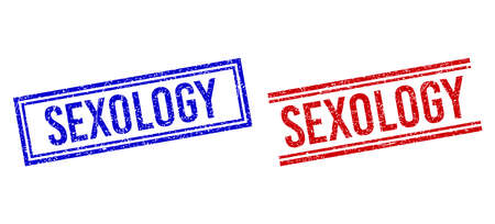 SEXOLOGY seal overlays with grunge effect. Vectors designed with double lines, in blue and red versions. Tag placed inside double rectangle frame and parallel lines.