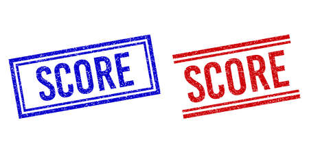 SCORE stamp watermarks with distress texture. Vectors designed with double lines, in blue and red colors. Text placed inside double rectangle frame and parallel lines. Stock Illustratie