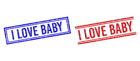 I LOVE BABY rubber imprints with distress texture. Vectors designed with double lines, in blue and red colors. Tag placed inside double rectangle frame and parallel lines.