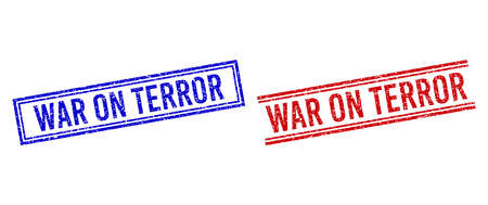 WAR ON TERROR rubber imprints with grunge style. Vectors designed with double lines, in blue and red variants. Text placed inside double rectangle frame and parallel lines.