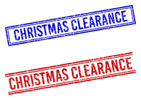 CHRISTMAS CLEARANCE rubber imitations with grunge style. Vectors designed with double lines, in blue and red colors. Label placed inside double rectangle frame and parallel lines. Stock Illustratie