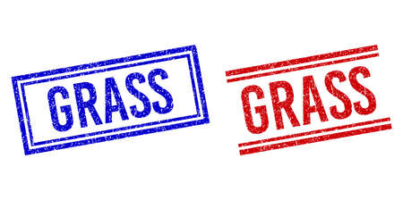 GRASS rubber imitations with distress texture. Vectors designed with double lines, in blue and red colors. Text placed inside double rectangle frame and parallel lines.