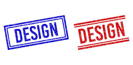 DESIGN seal watermarks with grunge style. Vectors designed with double lines, in blue and red variants. Caption placed inside double rectangle frame and parallel lines. Stock Illustratie