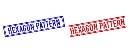 HEXAGON PATTERN rubber watermarks with grunge effect. Vectors designed with double lines, in blue and red colors. Text placed inside double rectangle frame and parallel lines.