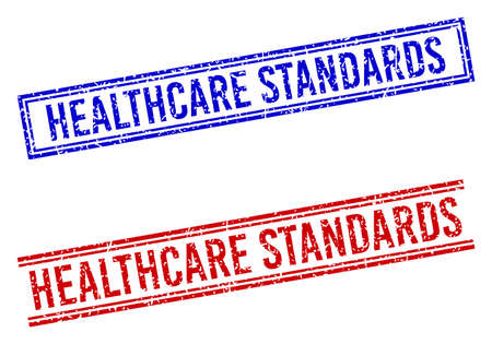 HEALTHCARE STANDARDS stamp imprints with grunge texture. Vectors designed with double lines, in blue and red versions. Text placed inside double rectangle frame and parallel lines.