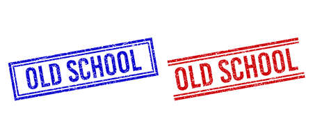 OLD SCHOOL stamp seal watermarks with grunge style. Vectors designed with double lines, in blue and red versions. Caption placed inside double rectangle frame and parallel lines.