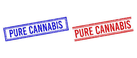 PURE CANNABIS rubber imitations with distress style. Vectors designed with double lines, in blue and red variants. Phrase placed inside double rectangle frame and parallel lines.
