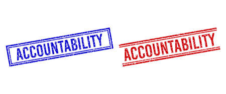 ACCOUNTABILITY rubber imprints with grunge style. Vectors designed with double lines, in blue and red versions. Tag placed inside double rectangle frame and parallel lines. Stock Illustratie