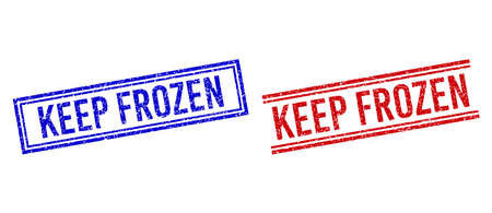 KEEP FROZEN rubber overlays with grunge texture. Vectors designed with double lines, in blue and red variants. Caption placed inside double rectangle frame and parallel lines.