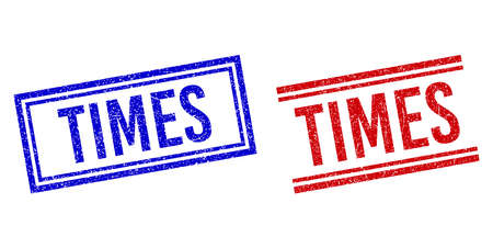 TIMES stamp watermarks with grunge texture. Vectors designed with double lines, in blue and red versions. Caption placed inside double rectangle frame and parallel lines.