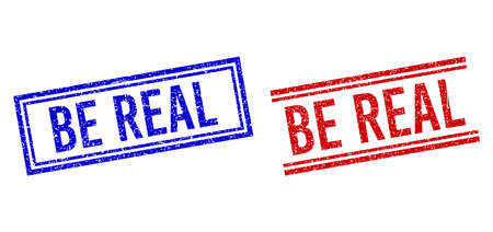 BE REAL rubber overlays with grunge style. Vectors designed with double lines, in blue and red versions. Label placed inside double rectangle frame and parallel lines. Stock Illustratie